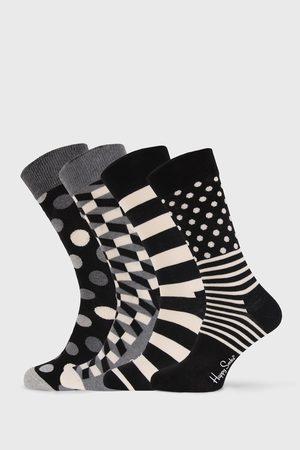 Happy Socks 4 PACK ponožek Black and White