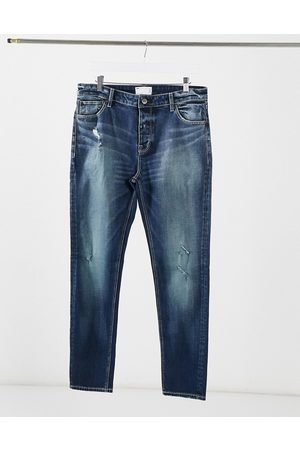 ASOS Skinny jean in dark blue vintage japanese wash with abrasions