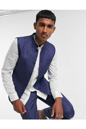 ASOS Slim nehru waistcoat with mandarin collar in navy