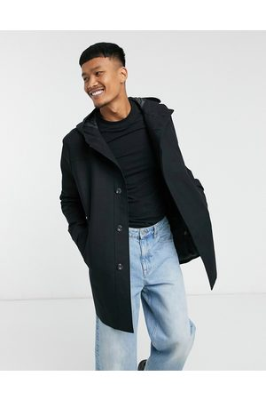 ASOS Shower resistant hooded trench coat in black