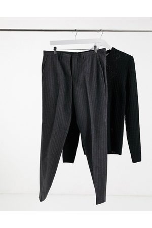 Shelby & Sons Slim fit suit trousers in charcoal stripe-Grey