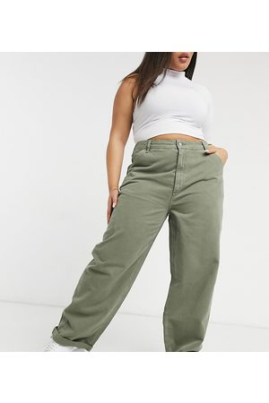 ASOS ASOS DESIGN Curve slouchy chino trouser in khaki-Green