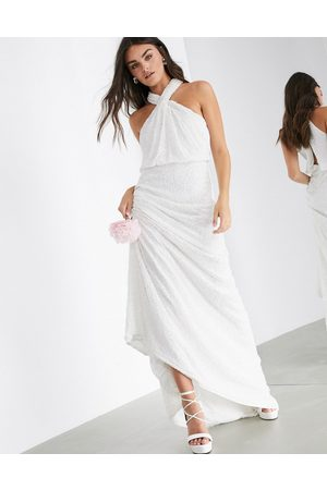 ASOS Carmelo sequin halter wedding dress-White
