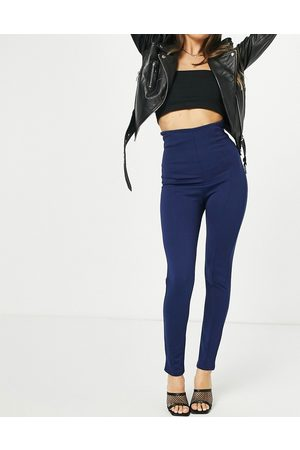 Flounce London High waisted tailored stretch trouser in navy