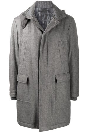 ELEVENTY High neck wool-mix coat with neck buckle detail