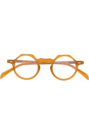 LESCA Round-frame clear-lens glasses