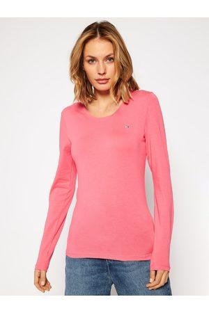 Tommy Hilfiger Dámské růžové tričko s dlouhým rukávem Jersey