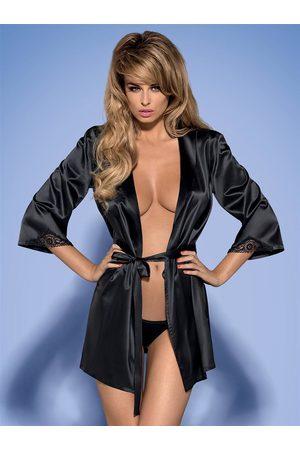 Obsessive Župan Satinia robe black - L/XL