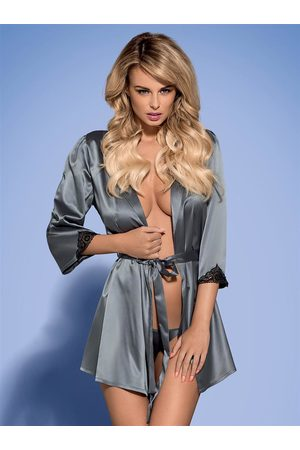 Obsessive Župan Satinia robe grey - XXL