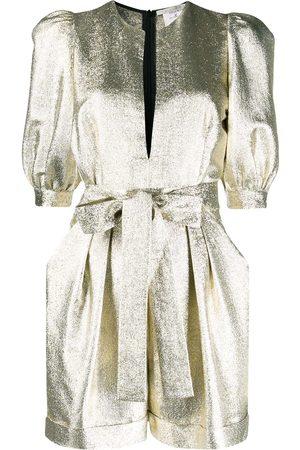 Stella McCartney Metallic glitter half-sleeves playsuit