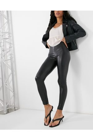 Pull&Bear Faux leather trousers in black