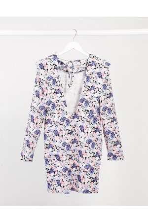 ASOS Padded shoulder long sleeve mini dress with tie back in lilac and blue floral-Pink