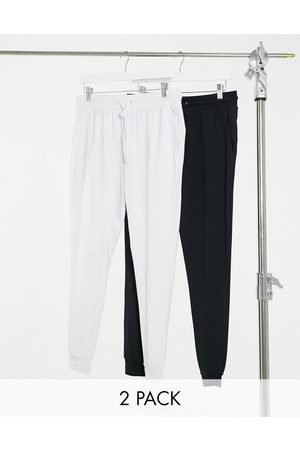 ASOS 2 pack lightweight super skinny lightweight joggers in black/white marl-Multi