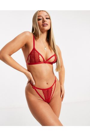 ASOS DESIGN Ženy Tanga - Lace barely there thong in red