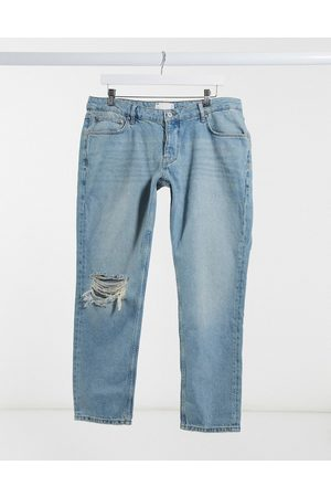 ASOS Low rise slim jeans in vintage mid 90's wash with knee rip-Blue