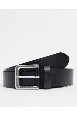 ASOS Muži Pásky - Leather wide belt in black with burnished silver buckle