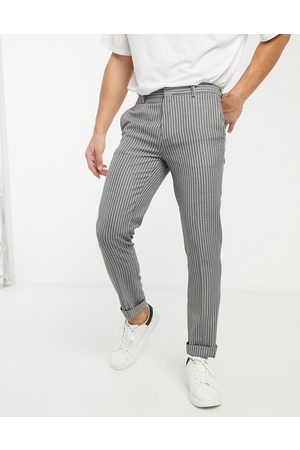 River Island Muži Chino - Skinny smart trousers in stripe-Grey
