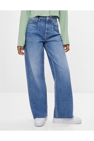 Bershka Ženy Boyfriend - 90s wide leg baggy jean in blue