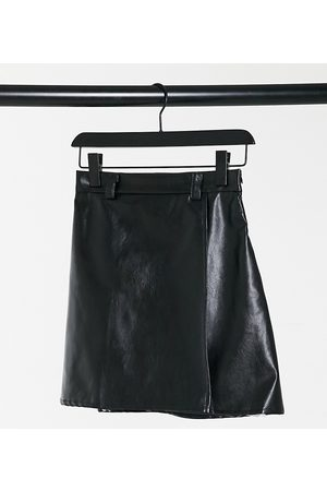 NaaNaa High waisted faux leather skirt in black