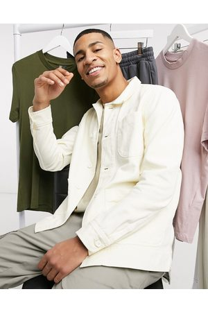 Knowledge Cotton Apparal Organic cotton twill overshirt in cream