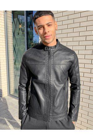 Jack & Jones Essentials faux leather biker jacket in black