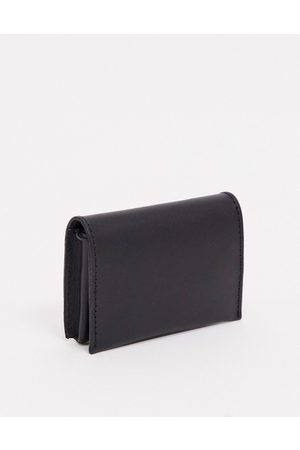 ASOS Leather foldover wallet with coin zip in black