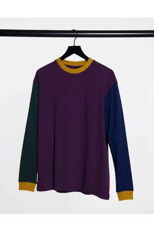 ASOS Relaxed long sleeve t-shirt in pique and single jersey mix-Purple