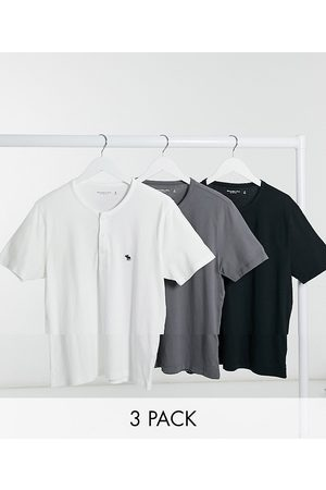 Abercrombie & Fitch Henley 3 pack in black white grey-Multi
