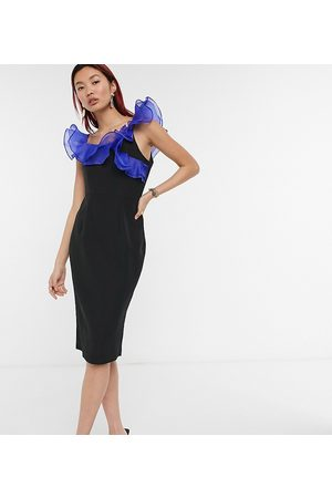 Lusso the Label Exclusive off shoulder midi dress with ruffle detail in black and cobalt-Multi