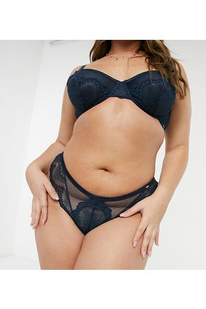 Dorina Plus Size Jenner fishnet and lace brazilian brief in ink-Blue