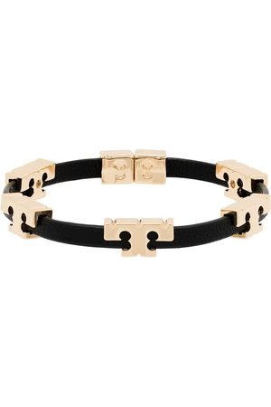 Tory Burch 18K gold-plated serif T leather bracelet