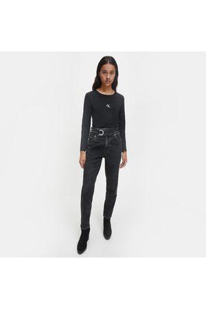 Calvin Klein Ženy S dlouhým rukávem - Dámské černé triko s dlouhým rukávem