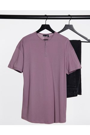 ASOS Relaxed fit longline grandad in washed lilac-Purple