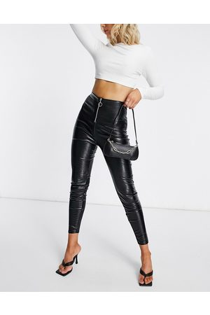 ASOS Snake leather look skinny trouser with zip front in black