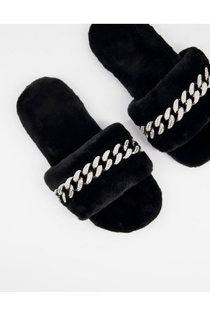 Public Desire Gimme slippers with chain in black