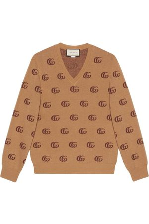 Gucci Double G jacquard wool V-neck jumper