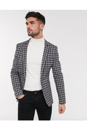 ASOS Skinny soft tailored blazer with gingham check in brown