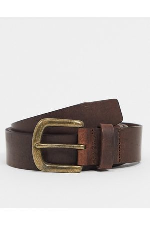 ASOS Muži Pásky - Leather slim belt in brown with vintage finish