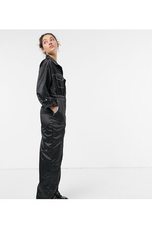 COLLUSION Satin jumpsuit with contrast stitch in black