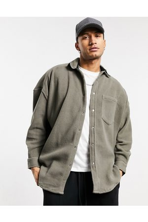 ASOS Fleece volume overshirt in grey