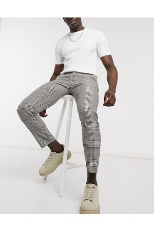 River Island Muži Chino - Skinny smart trouser in stone check