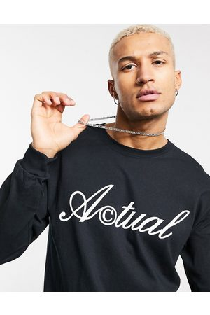 ASOS Actual Muži S dlouhým rukávem - Long sleeve t-shirt in black with front logo