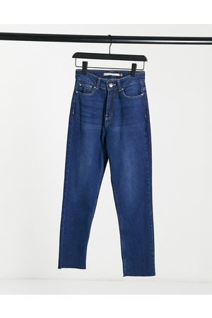Brave Soul Fran high waisted mom jeans in indigo blue
