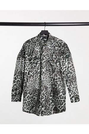 ASOS Muži Volnočasové - 90s oversized shirt in grey velvet animal skin print