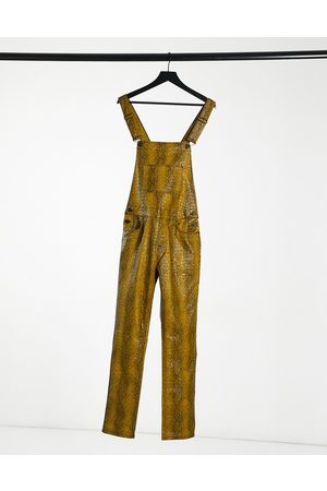 ASOS Leather look dungaree in yellow snake print