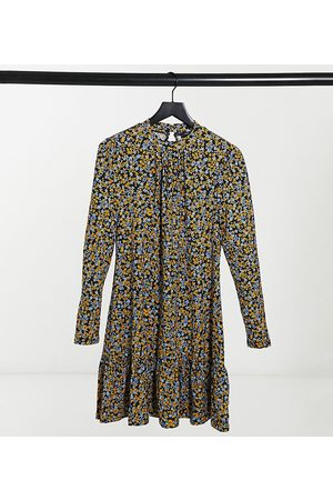 New Look High neck soft touch smock dress in black ditsy floral