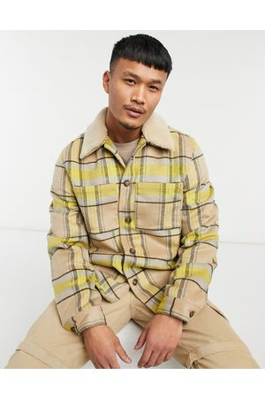 ASOS Wool mix shacket with quilted lining in yellow and ecru check