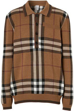 Burberry Intarsia check wool polo shirt
