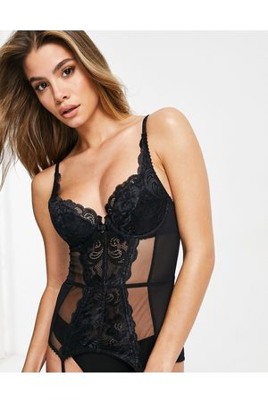 Gossard Lace basque with sheer panelling in black