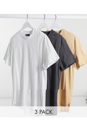 ASOS 3 pack longline t-shirt with side splits-Multi